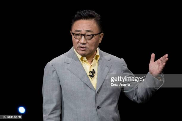 Koh president and CEO of Samsung Electronics speaks during a product launch event for the Samsung Galaxy Note 9 smartphone at the Barclays Center on...