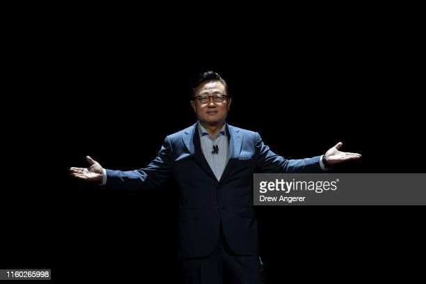 Koh, president and CEO of Samsung Electronics, takes the stage before presenting the Samsung Galaxy Note 10 smartphone during a launch event at...