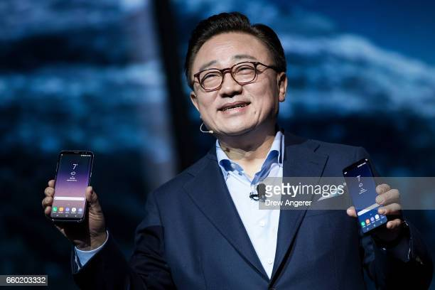 Koh president of mobile communications business at Samsung introduces the new Samsung Galaxy S8 during a launch event March 29 2017 in New York City...