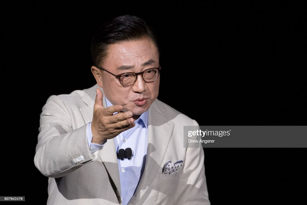 DJ Koh, president of mobile communications business at Samsung, speaks about the new Samsung Galaxy Note8 smartphone during a launch event for the new product, August 23, 2017 in New York City. The Galaxy Note8 will be released in stores on September 15. The previous Galaxy Note 7 model had to be recalled due to self-combusting batteries.
