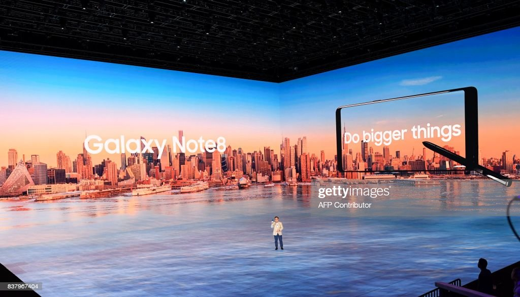 DJ Koh, Samsung President/Mobile Communications Business, speaks about the Samsung Galaxy Note 8 as it was unveiled at the Samsung Galaxy Unpacked 2017 event on August 23, 2017 in New York. Samsung unveiled the new generation of its flagship Galaxy Note smartphone, seeking to put behind it an embarrassing recall over exploding batteries and mount a renewed challenge to key market rival Apple and its soon-to-come iPhone 8. EMMERT