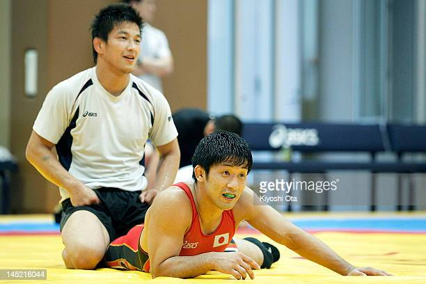 Kohei Hasegawa and Ryutaro Matsumoto of Japan take part in the training session for the Japan Men's wrestling team for the London 2012 Olympic Games...