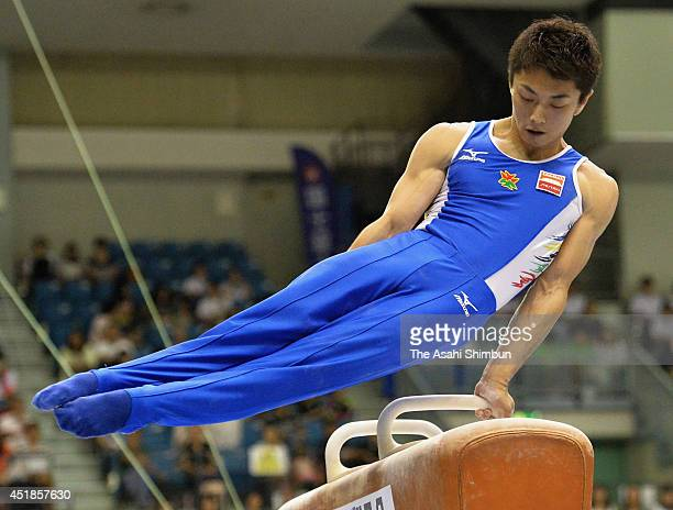 Kohei Kameyama competes in the Horse Vault during the 68th All Japan Gymnastics Apparatus Championships at Chiba Port Arena on July 6 2014 in Chiba...