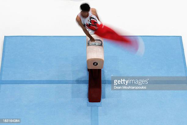 Kohei Kameyama of Japan competes in the Pommel Horse Final on Day Six of the Artistic Gymnastics World Championships Belgium 2013 held at the Antwerp...