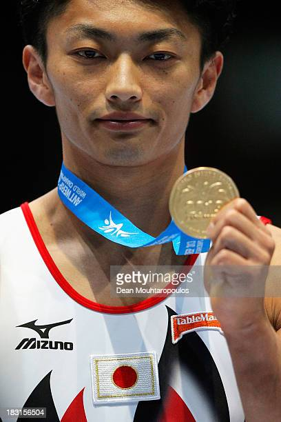 Kohei Kameyama of Japan poses after winning the gold medal in the Pommel Horse Final on Day Six of the Artistic Gymnastics World Championships...
