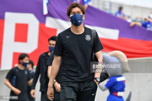 Kohei KAWATA of Ventforet Kofu is seen on arrival at the stadium prior to the J.League Meiji Yasuda J2 match between Ventforet Kofu and Blaublitz...