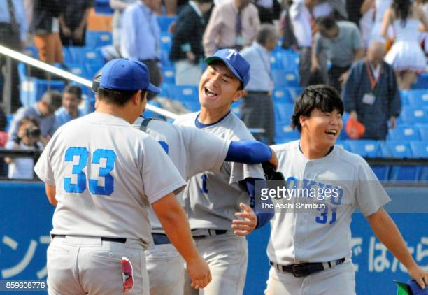 Kohei Miyadai of Tokyo celerbates his team's victory with his team mates in the Tokyo Big6 Baseball Autumn League match between Hosei and Tokyo at...