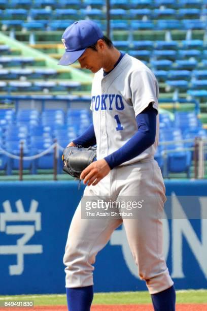 Kohei Miyadai of Tokyo reacts during the Tokyo Big6 Baseball League game between Tokyo University and Keio University at Jingu Stadium on September...