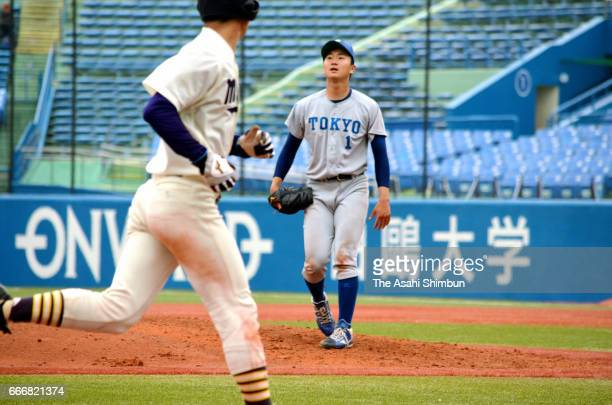 Kohei Miyadai of Tokyo shows dejection after the forced run during the Tokyo Big6 Baseball League spring league match against Meiji at Jingu Stadium...