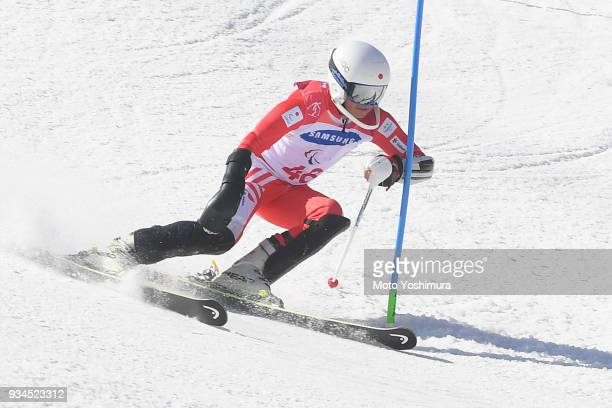 Kohei Takahashi of Japan competes in the Alpine Skiing Men's Slalom Standing on day eight of the PyeongChang 2018 Paralympic Games on March 17 2018...