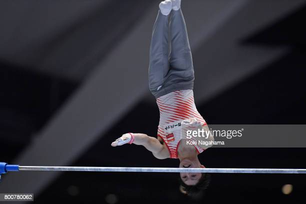 Kohei Uchimura competes in the Horizontal Bar during Japan National Gymnastics Apparatus Championships at the Takasaki Arena on June 25 2017 in...