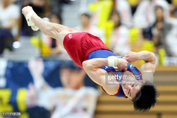 Kohei Uchimura competes in the Men's Floor during the 52nd All Japan Senior Artistic Gymnastics Championships at the Fukui Prefecture Gymnasium on...