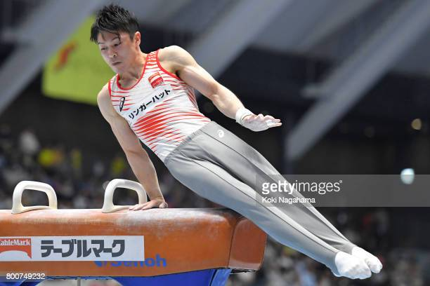 Kohei Uchimura competes in the pommel horse during Japan National Gymnastics Apparatus Championships at the Takasaki Arena on June 25 2017 in...