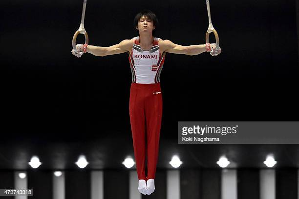 Kohei Uchimura competes on the rings during the Artistic Gymnastics NHK Trophy at Yoyogi National Gymnasium on May 17 2015 in Tokyo Japan
