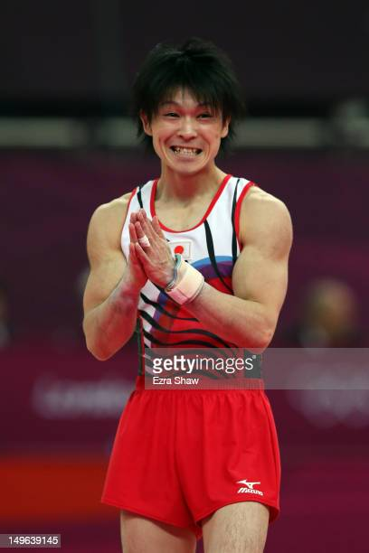 Kohei Uchimura of Japan celebrates after his final rotation in the Artistic Gymnastics Men's Individual AllAround final on Day 5 of the London 2012...