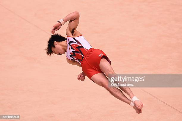 Kohei Uchimura of Japan competes in the floor of Men's All Around Final during Gymnastics Tokyo World Cup 2014 at Tokyo Metropolitan Gymnasium on...