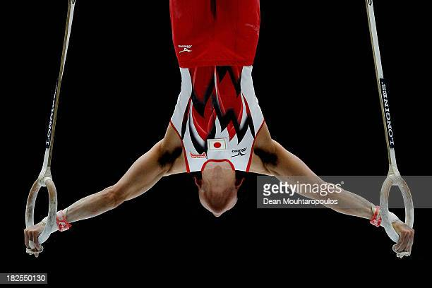 Kohei Uchimura of Japan competes in the Rings Qualification on Day One of the Artistic Gymnastics World Championships Belgium 2013 held at the...