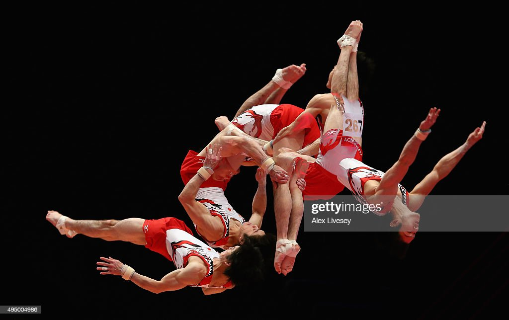 Kohei Uchimura of Japan competes in the vault during day eight of the 2015 World Artistic Gymnastics Championships at The SSE Hydro on October 30, 2015 in Glasgow, Scotland.