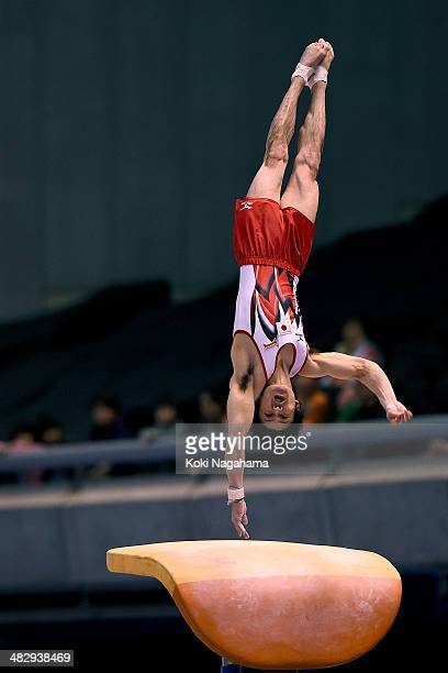 Kohei Uchimura of Japan competes in the Vault of Men's All Around Final during Gymnastics Tokyo World Cup 2014 at Tokyo Metropolitan Gymnasium on...