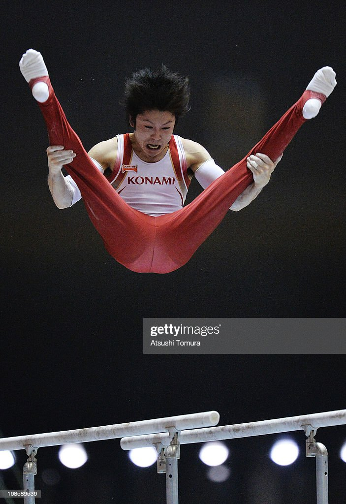 Kohei Uchimura of Japan competes on the parallel bars during day two of the 67th All Japan Artistic Gymnastics Individual All Around Championship at Yoyogi National Gymnasium on May 12, 2013 in Tokyo, Japan.
