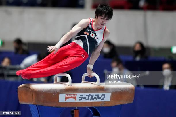 Kohei Uchimura of Japan competes on the pommel horse during the artistic gymnastics Friendship and Solidarity Competition at the Yoyogi National...