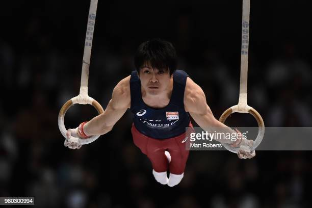 Kohei Uchimura of Japan competes on the rings during day two of the 57th Artistic Gymnastics NHK Trophy at the Tokyo Metropolitan Gymnasium on May 20...