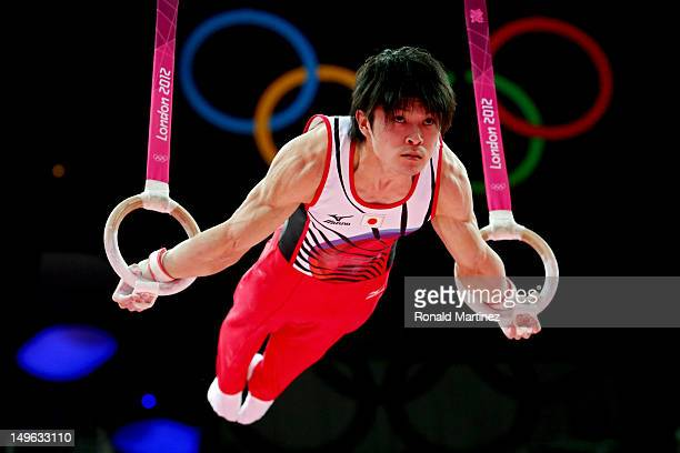 Kohei Uchimura of Japan competes on the rings in the Artistic Gymnastics Men's Individual AllAround final on Day 5 of the London 2012 Olympic Games...