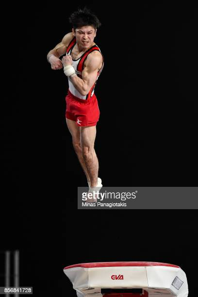 Kohei Uchimura of Japan competes on the vault during day one of the Artistic Gymnastics World Championships on October 2 2017 at Olympic Stadium in...