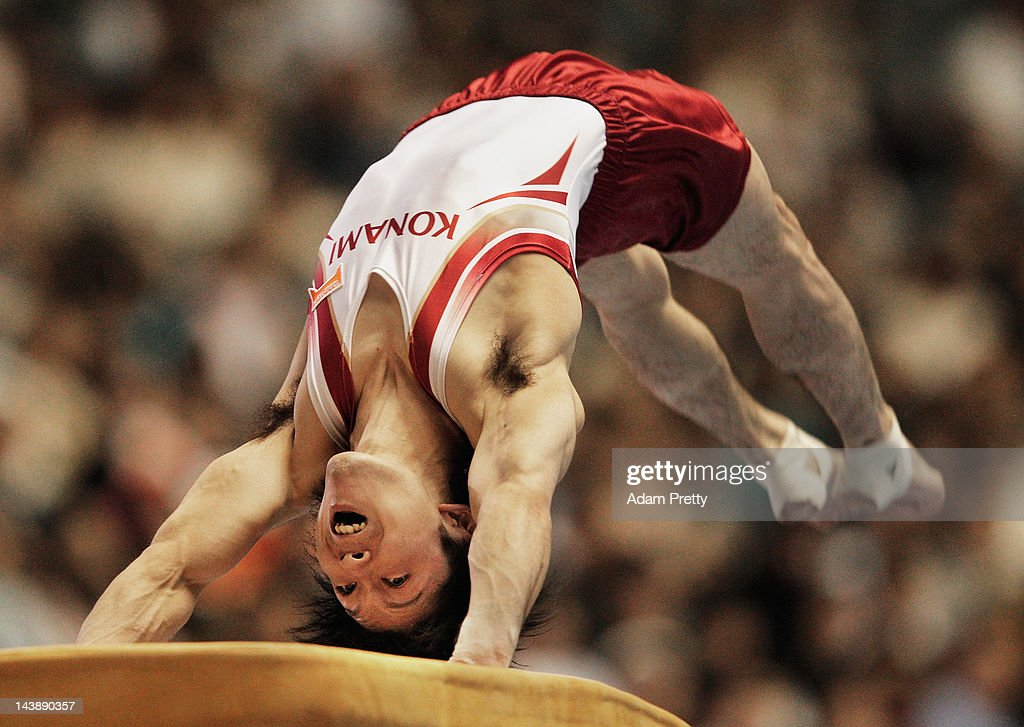 Kohei Uchimura of Japan competes on the vault during day two of the Artistic Gymnastics NHK Trophy at Yoyogi National Gymnasium on May 5, 2012 in Tokyo, Japan.