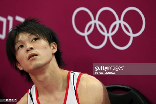 Kohei Uchimura of Japan looks on after his final rotation in the Artistic Gymnastics Men's Individual AllAround final on Day 5 of the London 2012...