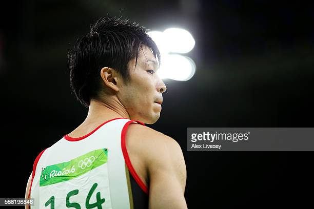 Kohei Uchimura of Japan looks on before competing on the pommel horse during the Men's Individual AllAround final on Day 5 of the Rio 2016 Olympic...