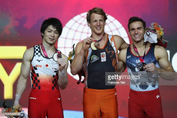 Kohei Uchimura of Japan with Silver Epke Zonderland of the Netherlands with gold and Sam Mikulak of USA with the Bronze Medal pose for the mens high...