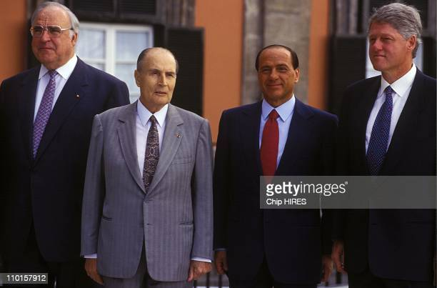 H Kohl F Mitterrand S Berlusconi B Clinton at the Summit of G7 in Naples Italy in July 1994