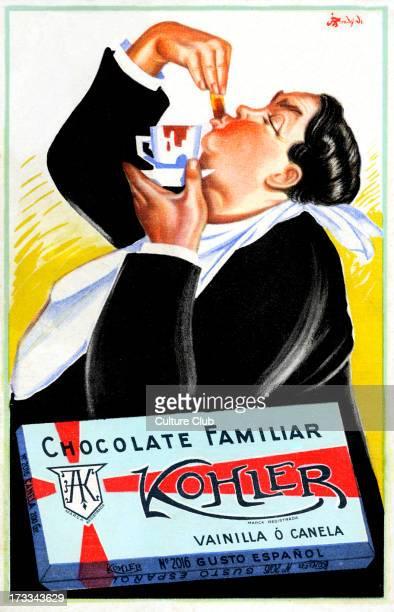 Kohler Chocolate Spanish advert 1900s Box reads Family chocolate Vanilla or cinammon