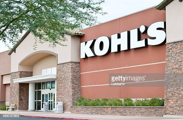 kohl's retail department store front with sign and trees - kohls stock photos and pictures