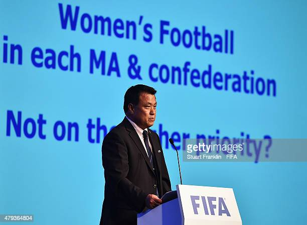 Kohzo Tashima FIFA Exectutive Committe memeber addresses the delagates at the 6th FIFA Women's Football Symposium at the Hyatt hotel on July 3 2015...