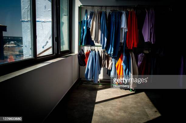 """Koi designed garments at the company's clothing studio on the outskirts of Tehran, Iran, on Wednesday, Oct. 14, 2020. """"Made in Iran"""" has emerged as a..."""