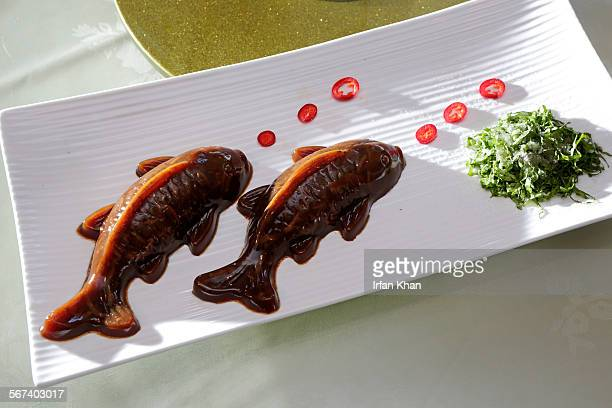 MAY 30 2014 Koi Jello steamed pigskin jelly molded into the shape of a carp served at Awu Delicious Food restaurant located in Arcadia