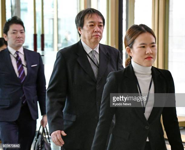 Koichi Mizushima minister at the Japanese Embassy in Seoul enters the head office of the South Korean foreign ministry in Seoul on Feb 22 as the...