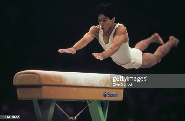 Koichi Mizushima of Japan competing in the Men's Horse Vault event at the Olympic Gymnastics Hall during the Olympic Games in Seoul 20th September...