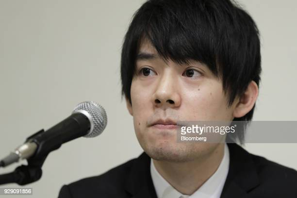 Koichiro Wada president of Coincheck Inc pauses during a news conference in Tokyo Japan on Thursday March 8 2018 Coinchecksaid it will start...