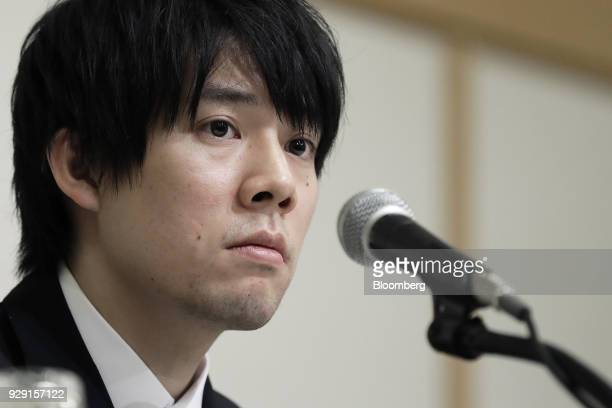 Koichiro Wada president of Coincheck Inc pauses during a news conference in Tokyo Japan on Thursday March 8 2018 Coincheck said it will start...