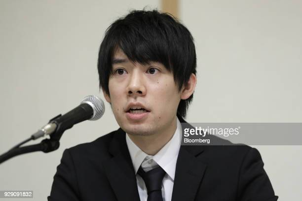 Koichiro Wada president of Coincheck Inc speaks during a news conference in Tokyo Japan on Thursday March 8 2018 Coinchecksaid it will start...