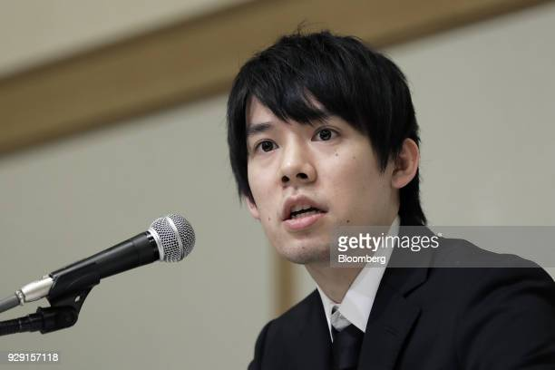 Koichiro Wada president of Coincheck Inc speaks during a news conference in Tokyo Japan on Thursday March 8 2018 Coincheck said it will start...