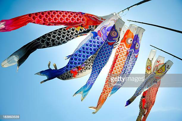 koinobori (koi shaped japanese kite) - japan stockfoto's en -beelden