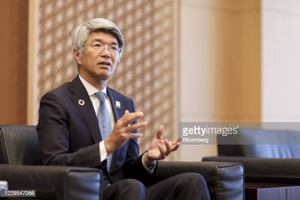 Koji Fujiwara, president and chief executive officer of Mizuho Bank Ltd., during an interview at the company's headquarters in Tokyo, Japan, on...