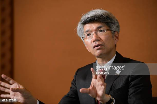 Koji Fujiwara president and chief executive officer of Mizuho Bank Ltd speaks during an interview in Tokyo Japan on Tuesday April 18 2017 Mizuho...