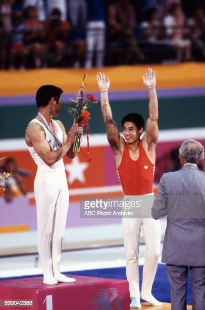 Koji Gushiken Li Ning Men's Gymnastics medal ceremony Pauley Pavilion at the 1984 Summer Olympics July 31 1984