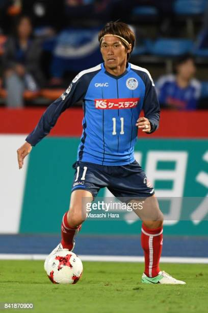 Koji Hashimoto of Mito Hollyhock in action during the JLeague J2 match between Mito Hollyhock and Nagoya Grampus at K's Denki Stadium on September 2...