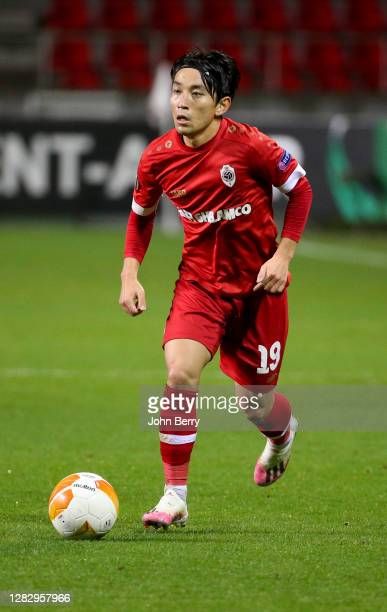 Koji Miyoshi of Antwerp during the UEFA Europa League Group J stage match between Royal Antwerp FC and Tottenham Hotspur at Bosuilstadion on October...